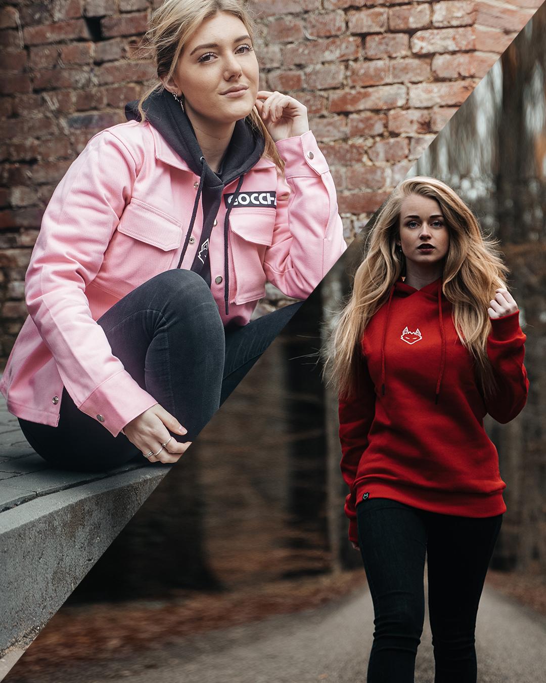 Combo deal: JTP Hoodie Red + Cargo Jacket Baby Pink